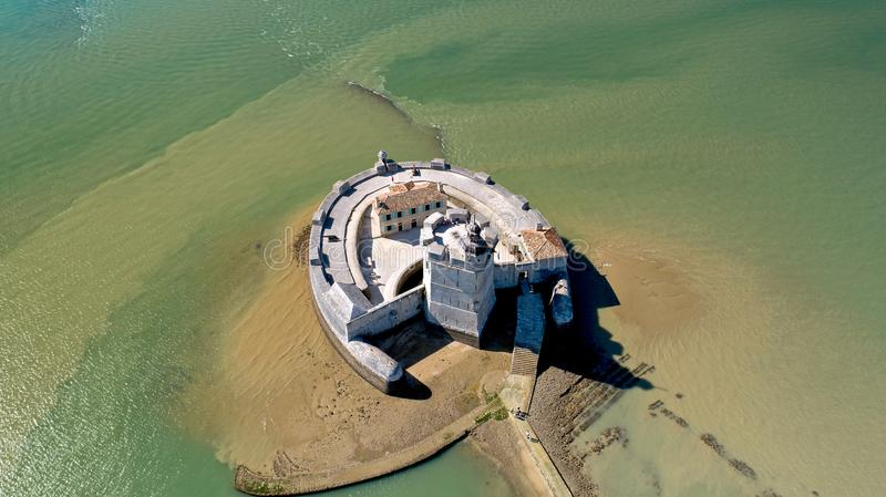 Aerial photography of Fort Louvois in Charente Maritime stock photography