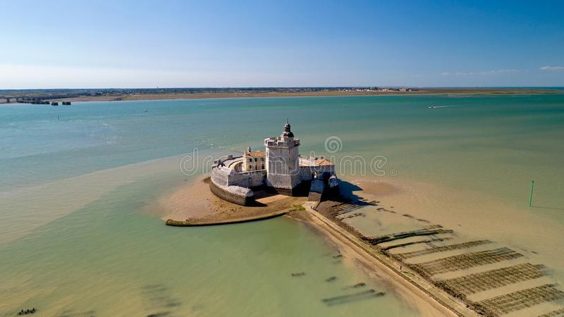 Aerial photography of Fort Louvois in Charente Maritime royalty free stock images