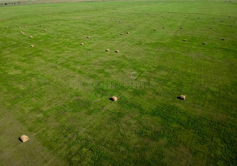 Aerial photography of hay bale field in South Dakota agriculture royalty free stock image