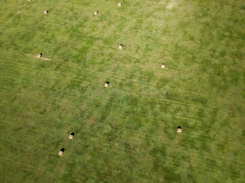 Aerial photography of hay bale field in South Dakota agriculture stock photos