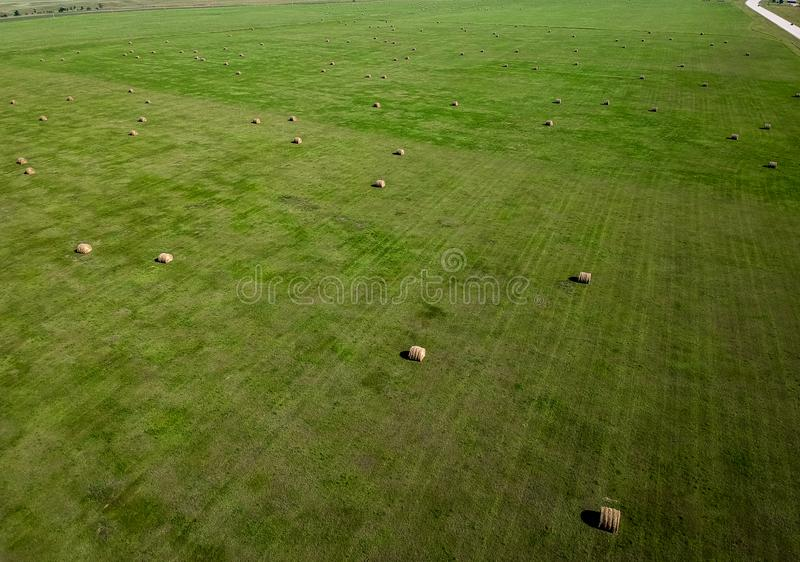Aerial photography of hay bale field in South Dakota agriculture royalty free stock photo