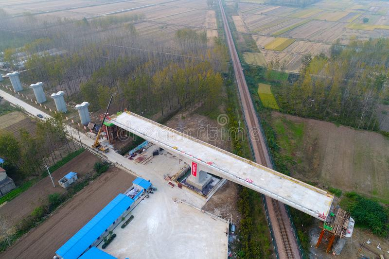 Aerial photography of high-speed railway construction in huai `an, jiangsu province, China. royalty free stock images