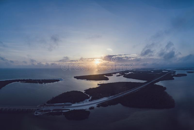 Aerial Photography of Island during Sunset stock image