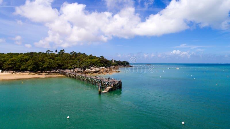 Aerial view of La plage des Dames wooden deck, Noirmoutier island. Aerial photography of La plage des Dames wooden pontoon, Noirmoutier island, Vendee stock image