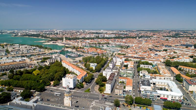 Aerial photography of La Rochelle city in Charente Maritime royalty free stock image