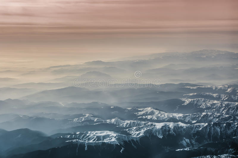 Aerial photography landscape of the Alps. stock images