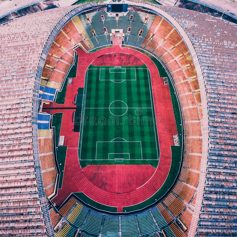 Aerial Photography of Multicolored Soccer Field royalty free stock photography