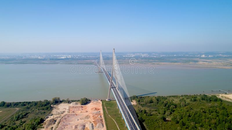 Aerial photography of the Normandy bridge royalty free stock image