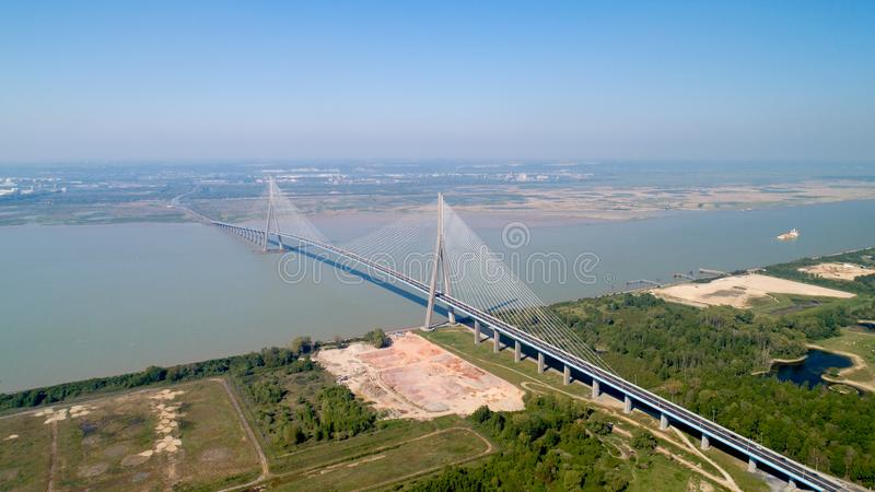 Aerial photography of the Normandy bridge royalty free stock photo
