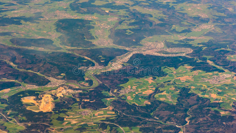 Aerial photography over the suburbs of paris. Photo taken on: May 9th, 2017 royalty free stock photo