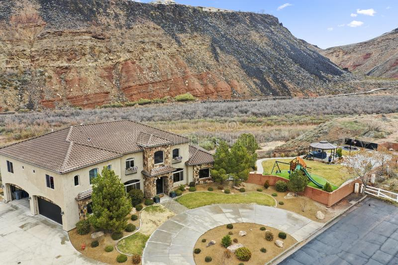 Aerial photography of residential property southern utah royalty free stock image