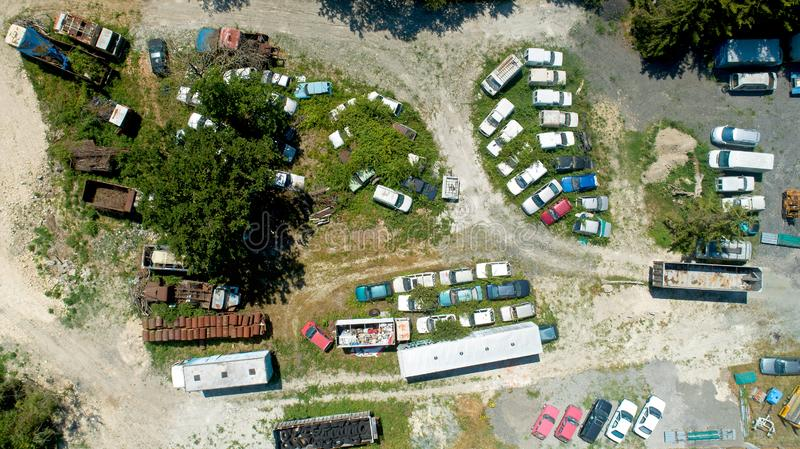 Aerial photography of rusted cars in a scrapyard stock photo