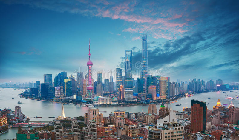 Aerial photography at Shanghai bund Skyline of dusk stock images
