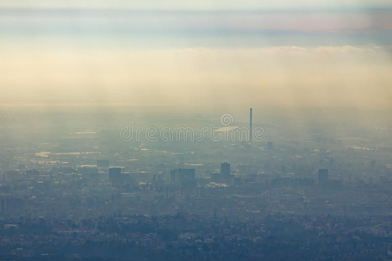 Aerial photography shot of the Zagreb city of Croatia in fog. A aerial photography shot of the Zagreb city of Croatia in fog stock images