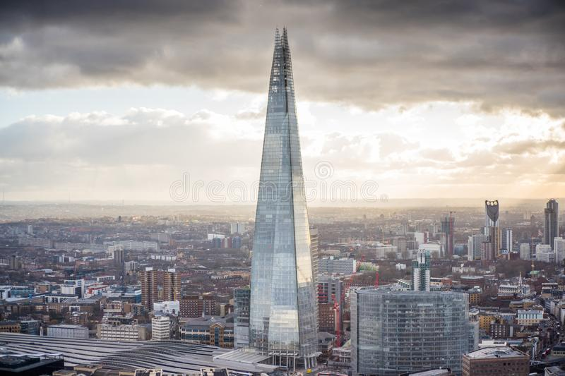 Aerial Photography of State of the Art Architectural High-rise Building stock photo