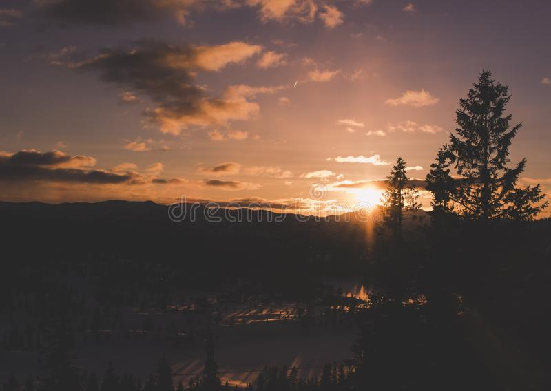 Aerial Photography of Sunset royalty free stock photo