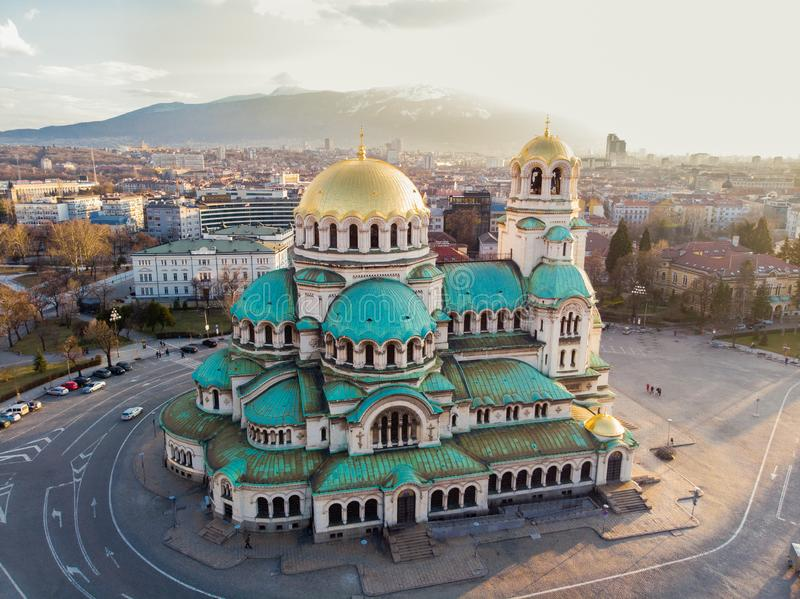 Orthodox Cathedral Alexander Nevsky, in Sofia, Bulgaria. Aerial photography in the sunset. Aerial photography in the sunset by drone in Sofia, Bulgaria in the stock images
