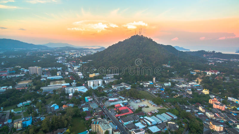 Aerial photography during sunset in the middle of Phuket city royalty free stock images