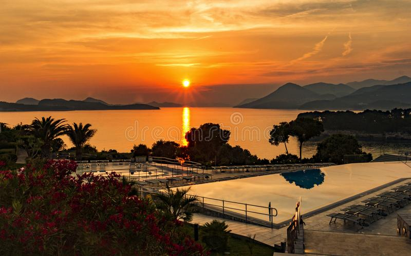 Aerial Photography of Swimming Pool during Sunset royalty free stock photo