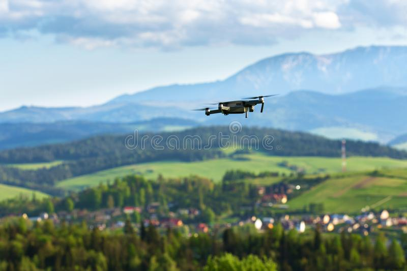 Aerial photography and videography. Drone flying over mountain f stock photo