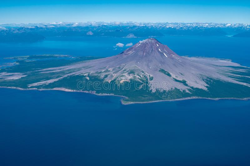 Aerial photography view of Augustine Volcano in Alaska`s Cook Inlet stock photos