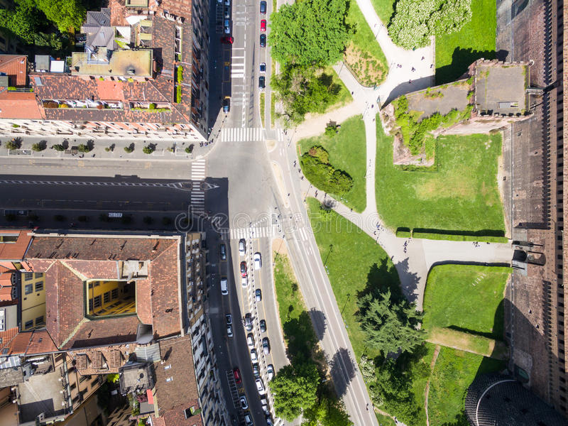 Aerial photography view of Sforza castello castle in Milan city stock photo