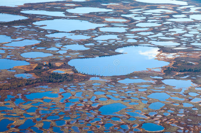 Aerial Photos Of Arctic Tundra Wetlands Stock Image