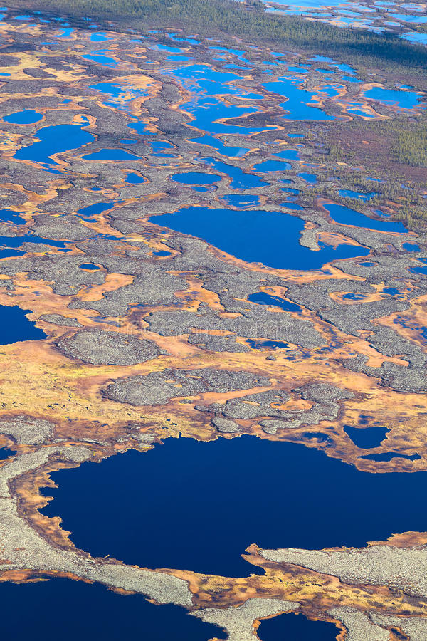 Aerial Photos Of Arctic Tundra Wetlands Stock Photo