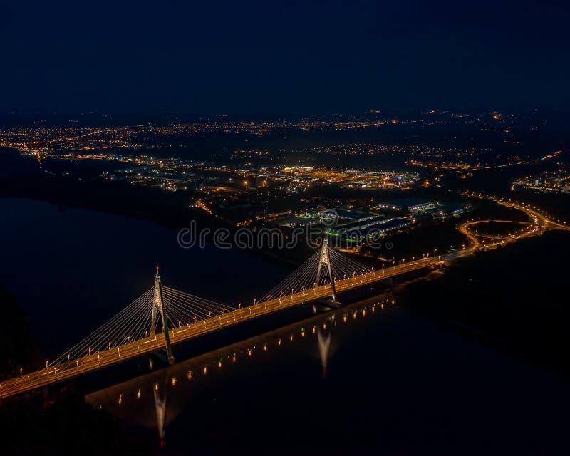 Aerial photos form Megyeri bridge. Budapest hungary. Transportation. City lights royalty free stock photography