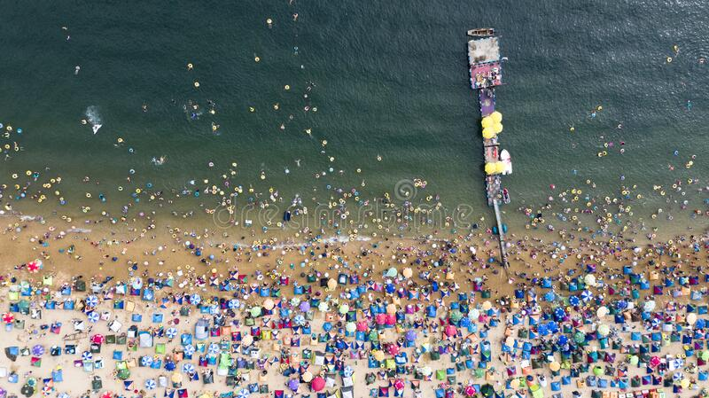 Aerial photos of people on the beach in Xinghai Park, Dalian, China royalty free stock photos