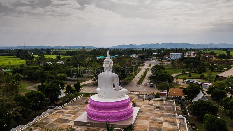 Aerial photos of White Buddha status in Thailand.  royalty free stock photo