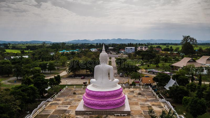 Aerial photos of White Buddha status in Thailand.  stock photos
