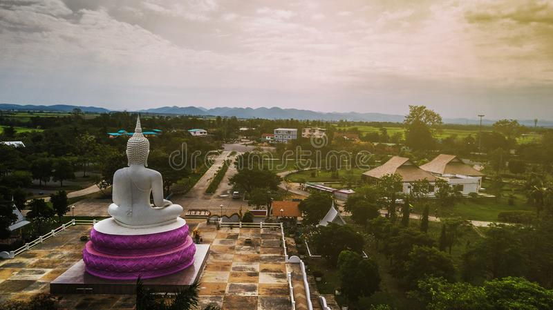 Aerial photos of White Buddha status in Thailand.  royalty free stock image
