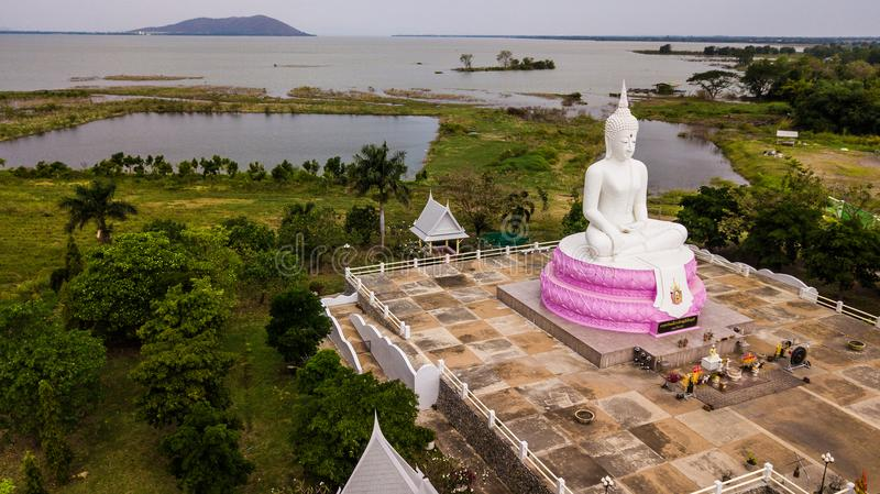 Aerial photos of White Buddha status in Thailand.  royalty free stock images
