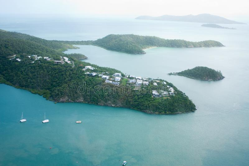 Aerial picture of one of the islands in Whitsundays in Australia royalty free stock photos