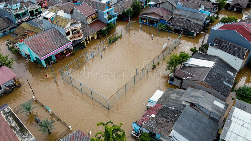 Aerial POV view Depiction of flooding. devastation wrought after massive natural disasters at Bekasi - Indonesia stock photo