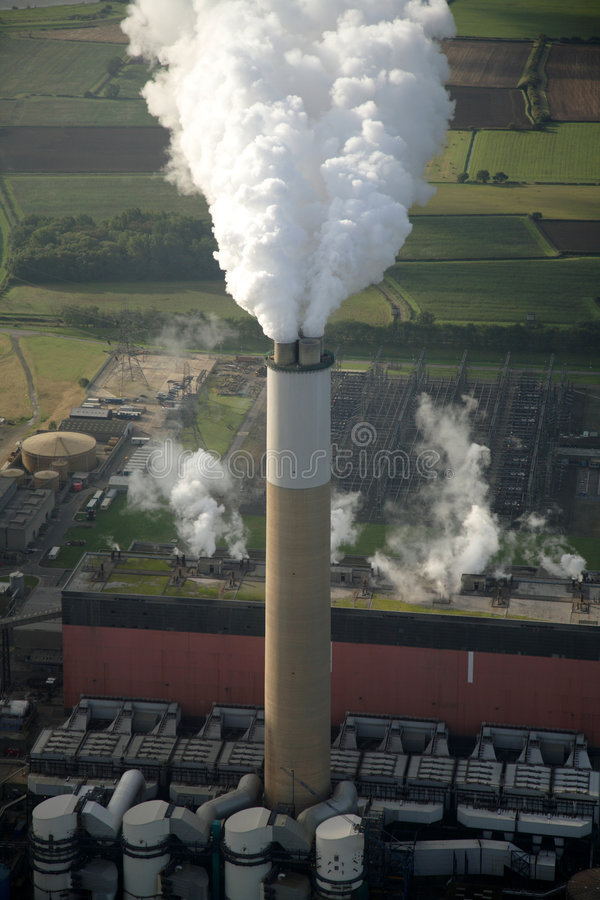 Aerial of power station chimney stock images