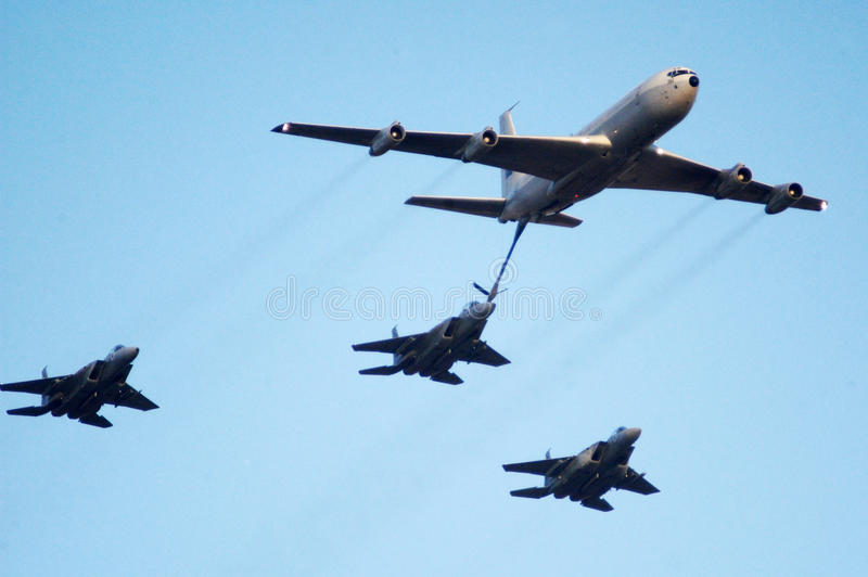 Aerial refueling royalty free stock photos