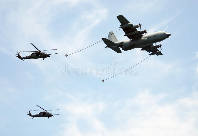 Aerial refueling operation stock photos
