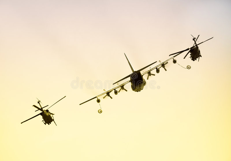 Aerial refueling operation stock photo