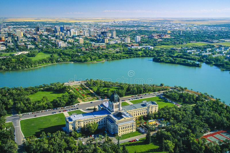 Aerial of Regina, Saskatchewan, Canada stock images