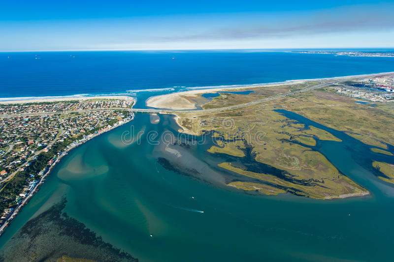 Aerial of river lagoon in South Africa. Port Elizabeth royalty free stock photos