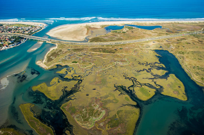 Aerial of river lagoon in South Africa. Port Elizabeth royalty free stock image