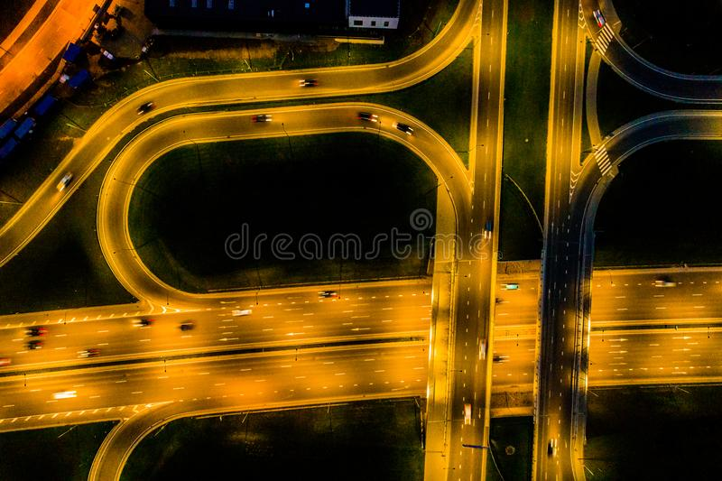 Aerial road view at night royalty free stock photo