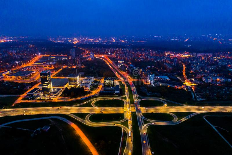 Aerial road view at night, Lithuania Vilnius stock images