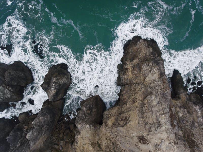 Aerial of Rocky Shoreline. Aerial, overhead view of a rocky shoreline in Northern California stock photos