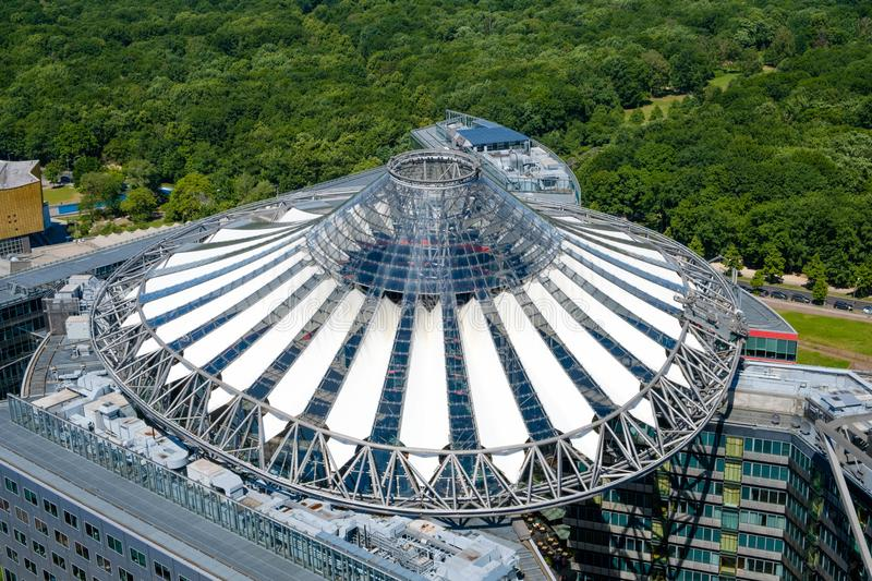 Aerial of the roof of the Sony Center building at Potsdamer Plat stock image