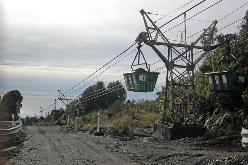 Aerial ropeway. WESTPORT, NEW ZEALAND, CIRCA 2007: Buckets on the aerial ropeway carry coal down to the the railway terminal at Stockton Coal Mine, West Coast royalty free stock photography