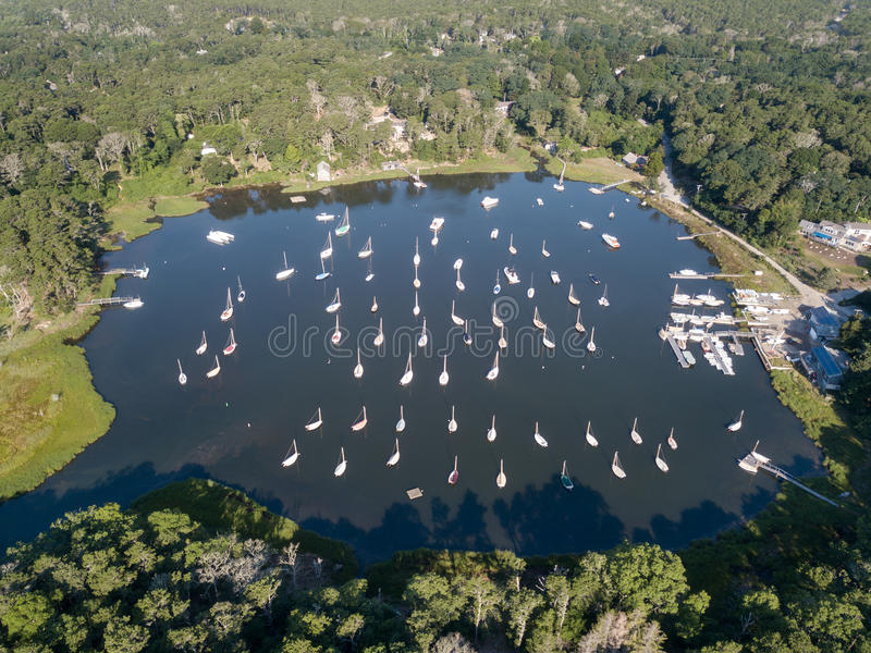 Aerial of Sailboats Moored on Cape Cod, Massachusetts royalty free stock images