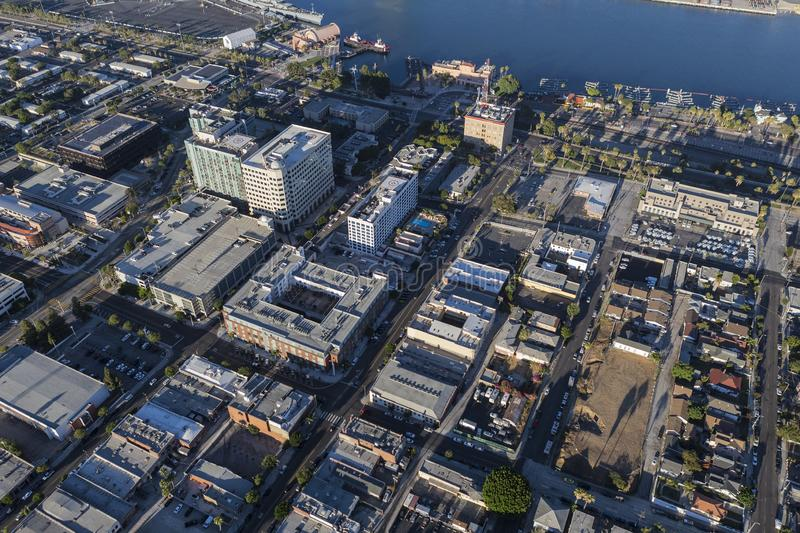 Aerial of San Pedro California. Afternoon aerial view of downtown San Pedro buildings and waterfront in Los Angeles, California stock image